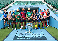 Football - 2019 / 2020 Gallagher Premiership Rugby - New Season Launch Media Photocall<br /> <br /> (From l to r), Bath Rugby's Rhys Priestland, Leicester Tigers' Tom Youngs, Worcester Warriors' Francois Hougaard, London Irish' Blair Cowan, Bristol Rugby's Nathan Hughes, Northampton Saints' Tom Wood, Wasps' Dan Robson, Sale Sharks' Chris Ashton, Harlequins' Mike Brown, Gloucester Rugby's Danny Cipriani, Saracens' Alex Goode, Exeter Chiefs' Don Armand,  at Twickenham.<br /> <br /> COLORSPORT/ASHLEY WESTERN