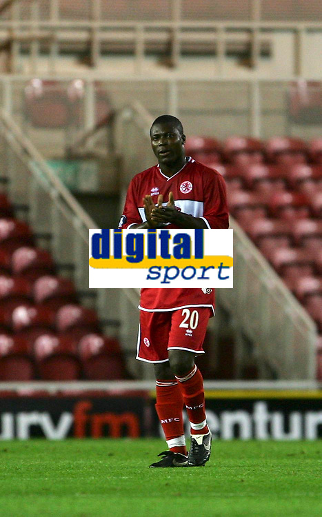 Photo: Andrew Unwin.<br />Middlesbrough v Dnipro. UEFA Cup. 03/11/2005.<br />Middlesbrough's Yakubu celebrates scoring his team's first goal.