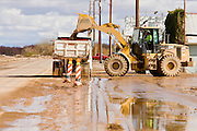 24 JANUARY 2010 -- WENDEN, AZ: A loader in Wenden fills a dump truck with mud. Wenden was slammed by its second 100 year flood in 10 years on Thursday night when water raced through Centennial Wash and into the small town in La Paz County west of Phoenix. Most of the town's residents were evacuated to Red Cross shelters in Salome, about 5 miles west of Wenden.    PHOTO BY JACK KURTZ