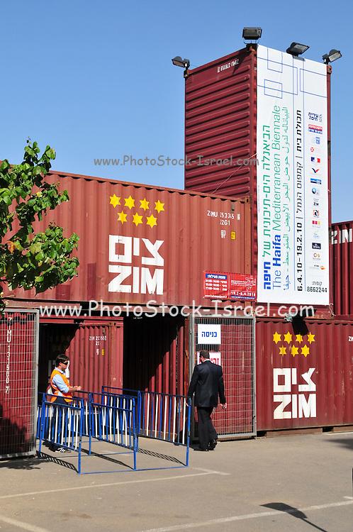 Israel, Haifa, Art exhibition housed in shipping containers at Haifa port