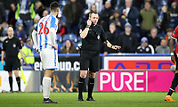 Football - 2017 / 2018 FA Cup - Fifth Round: Huddersfield Town vs. Manchester United<br /> <br /> Kevin Friend referee consults the VAR and disallows a Manchester United goal at John Smith Stadium.<br /> <br /> COLORSPORT/LYNNE CAMERON