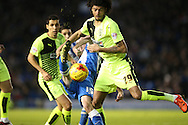 Huddersfield Town midfielder Phillip Billing (29) and Brighton winger, Jamie Murphy (15) during the Sky Bet Championship match between Brighton and Hove Albion and Huddersfield Town at the American Express Community Stadium, Brighton and Hove, England on 23 January 2016.