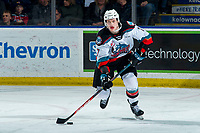 KELOWNA, BC - FEBRUARY 17: Conner McDonald #7 of the Kelowna Rockets skates with the puck against the Calgary Hitmen at Prospera Place on February 17, 2020 in Kelowna, Canada. (Photo by Marissa Baecker/Shoot the Breeze)