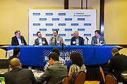 Josh Moss, Silicon Valley Business Journal Editor-in-Chief, left, leads a panel discussion during the Silicon Valley Business Journal's Future of Fremont event at Fremont Marriott Silicon Valley in Fremont, California, on June 18, 2019.  (Stan Olszewski for Silicon Valley Business Journal)