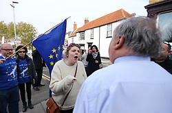 © Licensed to London News Pictures. 29/04/2017. Hartlepool UK. Pro EU campaigners confront UKIP party members in Hartlepool, County Durham, before UKIP leader Paul Nuttall heads out on the campaign trail. Photo credit: Andrew McCaren/LNP