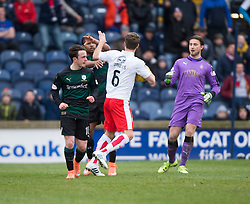 Falkirk's Will Vaulks with Raith Rovers Aidan Connolly and Raith Rovers Harry Panayiotou. <br /> Raith Rovers 2 v 2 Falkirk, Scottish Championship game played 23/4/2016 at Stark's Park.
