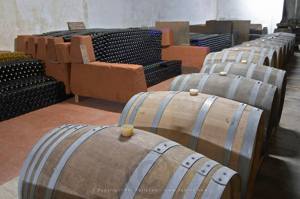 The underground ageing cellar with thousands of bottles and oak barrels for aging the wine. Bodega Plaza Vidiella Winery, Las Brujas, Canelones, Uruguay, South America