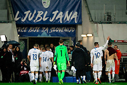 Jan Oblak of Slovenia and other players after the 2020 UEFA European Championships group G qualifying match between Slovenia and Latvia at SRC Stozice on November 19, 2019 in Ljubljana, Slovenia. Photo by Vid Ponikvar / Sportida