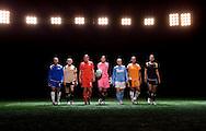 Rachel Buehler, Lindsay Tarpley, Abby Wambach, Hope Solo, Angela Hucles, Natasha Kai, Shannon Boxx, WPS promotional video photo shoot.