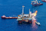 6/26/2010 Oil recovery platform burns off gas collected at the BP Deepwater Horizon well that is gushing oil into the Gulf of Mexico
