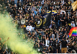 May 13, 2018 - Los Angeles, CA, U.S. - LOS ANGELES, CA - MAY 13: The Los Angeles FC 3252 section celebrates after a goal during the game between New York City FC and the Los Angeles FC on May 13, 2018, at Banc of California Stadium in Los Angeles, CA. (Photo by David Dennis/Icon Sportswire) (Credit Image: © David Dennis/Icon SMI via ZUMA Press)