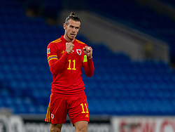 CARDIFF, WALES - Sunday, November 15, 2020: Wales' captain Gareth Bale celebrates at the final whistle during the UEFA Nations League Group Stage League B Group 4 match between Wales and Republic of Ireland at the Cardiff City Stadium. Wales won 1-0. (Pic by David Rawcliffe/Propaganda)