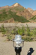 A viewscope telescope viewer at the Teklanika River in Denali National Park Alaska. Denali National Park and Preserve encompasses 6 million acres of Alaska's interior wilderness.