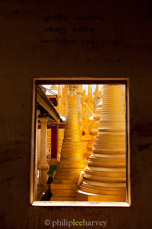 Golden pagodas at the Shwe In Dein complex near Inle Lake, Myanmar