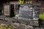 World Heritage plaque at the visitor center, Hawaii Volcanoes National Park, Hawaii USA