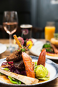 Dow0075165 . Sunday Telegraph<br /> <br /> ST Home & Living<br /> <br /> Mallard breast and crispy leg, Braised red cabbage , Carrot, Parsnips, Greens and Gravy<br /> The Crown pub in Hastings Old Town .<br /> <br /> Hastings 5 February 2017