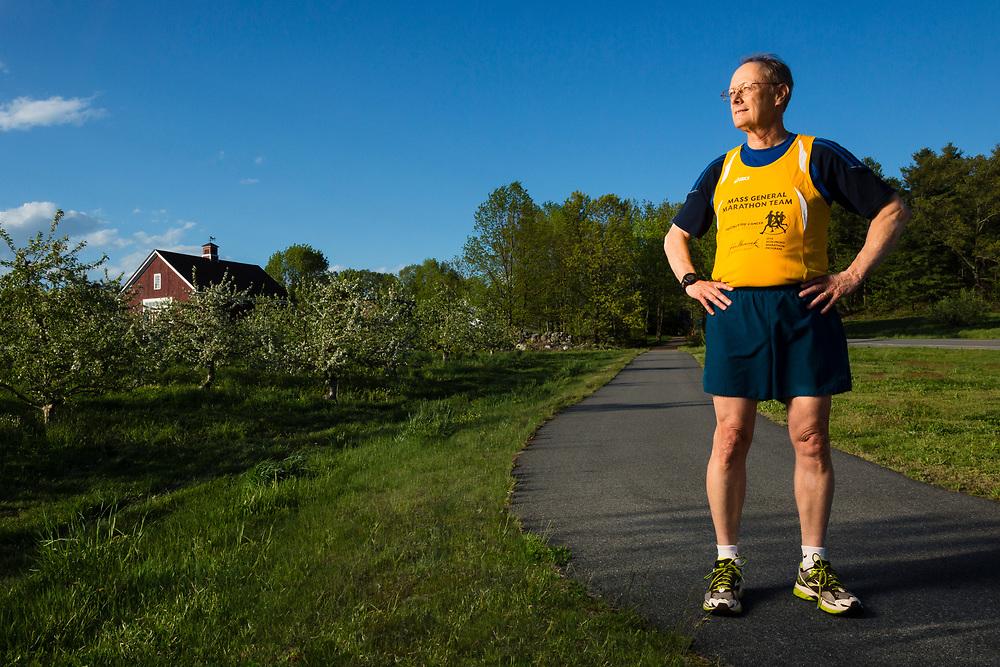 Runner in his Boston Marathon Team Shirt, Londonderry, NH
