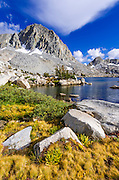 Alpine tarn and peaks above Dusy Basin, Kings Canyon National Park, California USA