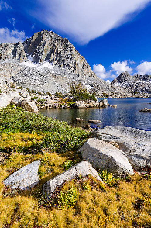 Alpine tarn and peaks above Dusy Basin, Kings Canyon National Park, California USA