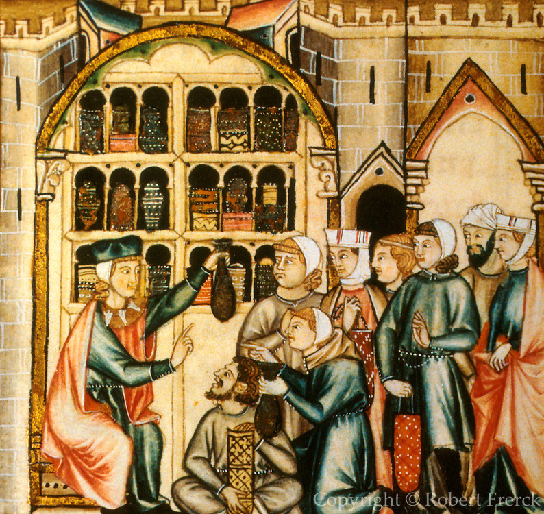 SPAIN, MIDDLE AGES, EL ESCORIAL 13thC Cantigas illuminated poems created for Alfonso X of Castile physician giving drugs to patients