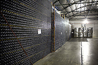 Racks of sparkling wine, called Spumante, are stacked at Bodega Chandon in Mendoza, Argentina.