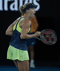 MELBOURNE, Jan. 20, 2018  Angelique Kerber of Germany celebrates after the women's singles third round match against Maria Sharapova of Russia at Australian Open 2018 in Melbourne, Australia, Jan. 20, 2018. Angelique Kerber won 2-0. (Credit Image: © Zhu Hongye/Xinhua via ZUMA Wire)