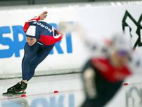 Skøyter, 9. november 2002. Verdenscupåpning, Vikingskipet,  Petter Andersen, Norge blir klart slått av nederlandske  Jochem Uytdehaage