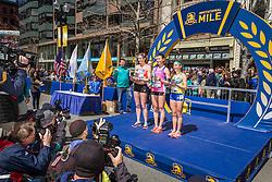 BAA Invitational Miles, Professional Women's Mile race, top three on podium