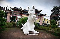 Cat monument near welcome archway in CBD of Kuching, Sarawak.
