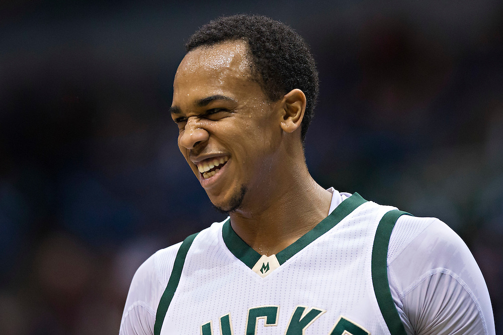 """MILWAUKEE, WI- JANUARY 4:  John Henson #31 of the Milwaukee Bucks smiles on the court during a game against the San Antonio Spurs at BMO Harris Bradley Center on January 4, 2016 in Milwaukee, Wisconsin.  """"NOTE TO USER: User expressly acknowledges and agrees that, by downloading and or using this photograph, User is consenting to the terms and conditions of the Getty Images License Agreement.""""(Photo by Wesley Hitt/Getty Images) *** Local Caption *** John Henson"""