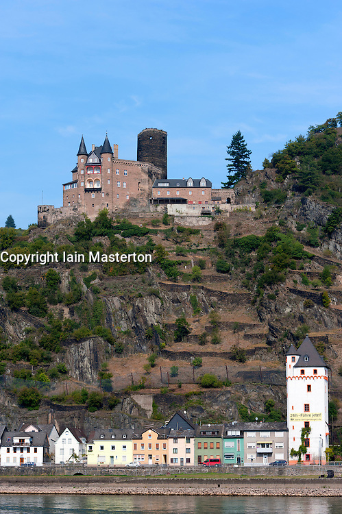Castle Burg Katz on hill above River Rhine in Rhineland Germany