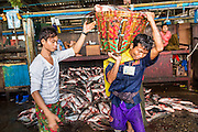 17 JUNE 2013 - YANGON, MYANMAR:   A porter carries a basket of fish to a truck in a large Yangon fish market. The market serves both domestic retail customers and wholesale international customers. With thousands of miles of riverine waterways and ocean coastline Myanmar has a large seafood and fishing industry.     PHOTO BY JACK KURTZ