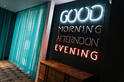 Neon signage inside Hotel Indigo along East Washington Avenue in Madison, WI on Wednesday, April 17, 2019.