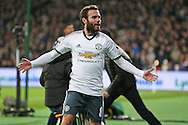 Juan Mata of Manchester United celebrates after scoring his sides 1st goal. Premier league match, West Ham Utd v Manchester Utd at the London Stadium, Queen Elizabeth Olympic Park in London on Monday 2nd January 2017.<br /> pic by John Patrick Fletcher, Andrew Orchard sports photography.