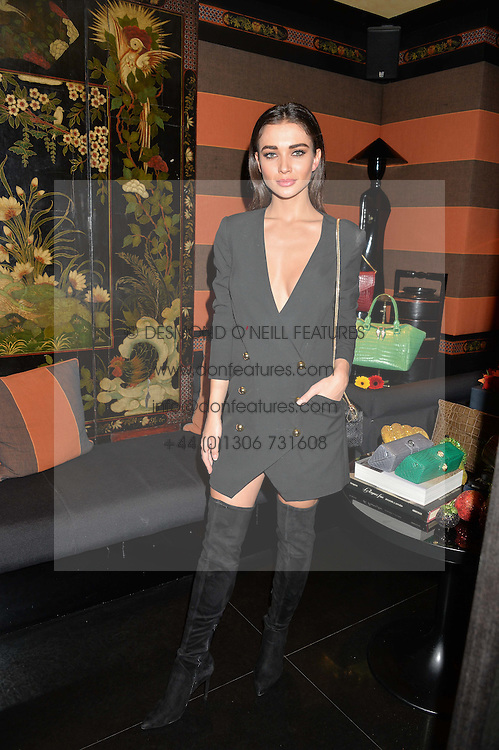 AMY JACKSON at a private dinner for designer Ethan K held at Blakes Hotel, 33 Roland Gardens, London on 26th October 2016.