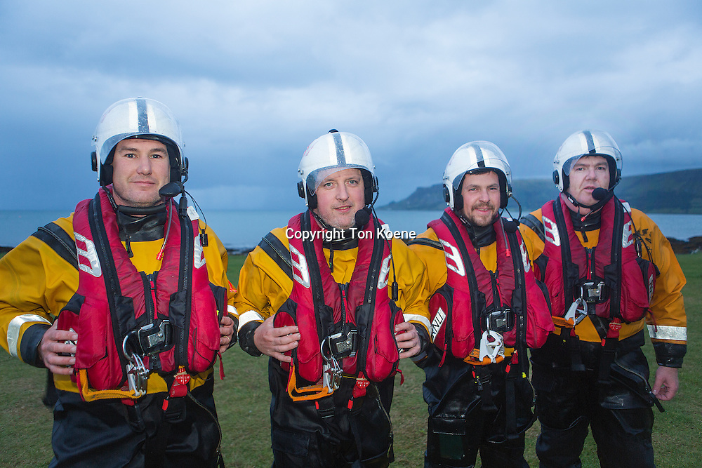Red bay lifeboat volunteers (RNLI) in Northern Ireland