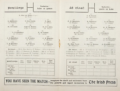All Ireland Senior Hurling Championship Final,.Brochures,.05.09.1948, 09.05.1948, 5th September 1948, .Waterford 6-7, Dublin 4-2, .Minor Kilkenny v Waterford, .Senior Dublin v Waterford, .Croke Park, ..Waterford Senior Team, J Ware, Captain, Goalkeeper, A Fleming, Right corner-back, J Cusack, Full-back, J Goode, Left corner-back, M. O h-Icibe, Right half-back, Capt. V Baston, Centre half-back, M Hayes, Left half-back, J O'Connor, Midfielder, E Carew, Midfielder, K O'Connor, Right half-forward, J Keane, Centre half-forward, C Moylan, Left half-forward, W Galvin, right corner-forward, E Daly, Centre forward, T Curran, Left corner-forward, Substitutes, P Waters, J Galvin, J Murphy, P Neville, W Fanning, M Healy, M Feeney, ..Dublin Senior Team, K Matthews, Goalkeeper, E Dunphy, Right corner-back, D Walsh, Full-back, S Cronin, Left corner-back, A Herbert, Right half-back, J Butler, Centre half-back, P Donnelly, Left half-back, M Hassett, Midfielder, L Donnelly, Midfielder, J Kennedy, Right half-forward, D Cantwell, Centre half-forward, S O'Callaghan, Left half-forward, M Williams, Right corner-forward, J Prior, Centre forward, F Cummins, Captain, Left corner-forward, Substitutes, J O'Callaghan, S Coughlan, O Keeley, P Thorton, C Keeley, J Drumgoole, D Dillon,  ..Advertisements, The Irish Press,