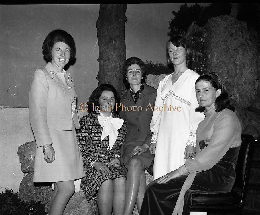 Ballybunion Festival. (F11).1973..24.05.1973..05.24.1973..24th May 1973..A press reception was held last night in the Old Shieling Hotel,Raheny,Dublin to announce the forthcoming Ballybunion Festival..Pictured at the press reception to announce the Ballybunion Festival were the members of the Ladies' Committee. (L-R)..Betty Hartnett,Maureen Browne,Eleanor Hannon,Mary Curtin and colette Walshe.