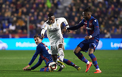 February 24, 2019 - Valencia, Valencia, Spain - Jose Campana and Cheick Doukoure of Levante UD and Vinicius Junior of Real Madrid during the La Liga match between Levante and Real Madrid at Estadio Ciutat de Valencia on February 24, 2019 in Valencia, Spain. (Credit Image: © AFP7 via ZUMA Wire)