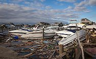 Mantoloking New Jersey , November 3, Boats piled up in the bay tossed around  by Hurricane Sandy's surge in a yaght club.  The Jersey shore took the brunt of Hurricane Sandy.
