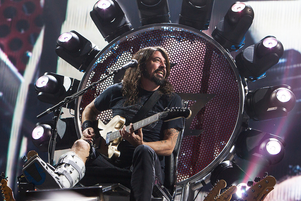 Dave Grohl performs with the Foo Fighters at Xcel Energy Center in St. Paul August 22, 2015.