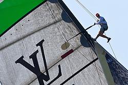 Cameron Appleton in the mast during the Artemis practice against Azzurra. Auckland, New Zealand, March 8th 2010. Louis Vuitton Trophy  Auckland (8-21 March 2010) © Sander van der Borch / Artemis