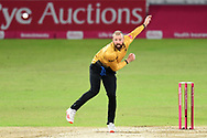 Arron Lilley of Leicestershire bowling from the Pavilion End during the Vitality T20 Blast North Group match between Nottinghamshire County Cricket Club and Leicestershire County Cricket Club at Trent Bridge, Nottingham, United Kingdom on 1 October 2020.