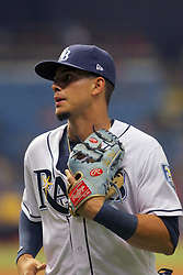 May 22, 2018 - St. Petersburg, FL, U.S. - ST. PETERSBURG, FL - MAY 22: Willy Adames (1) of the Rays trots off the field between innings during the MLB regular season game between the Boston Red Sox and the Tampa Bay Rays on May 22, 2018, at Tropicana Field in St. Petersburg, FL. (Photo by Cliff Welch/Icon Sportswire) (Credit Image: © Cliff Welch/Icon SMI via ZUMA Press)