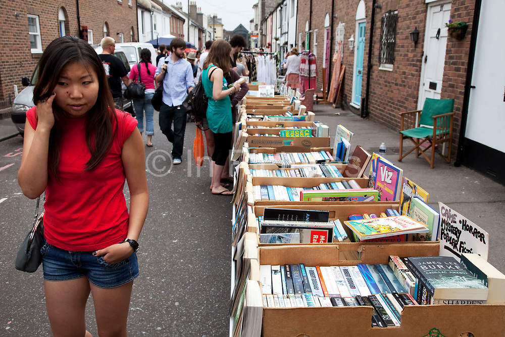 Second hand books for sale. Market street in the North Laines area of Brighton, East Sussex. North Laine—sometimes incorrectly called the North Lanes—is a shopping and residential district of Brighton, on the English  south coast immediately adjacent to the Royal Pavilion. Once a slum area, nowadays with its many pubs and cafés, theatres and museums, it is seen as Brighton's bohemian and cultural quarter.