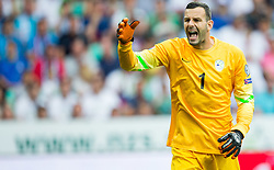 Samir Handanovic of Slovenia reacts during the EURO 2016 Qualifier Group E match between Slovenia and England at SRC Stozice on June 14, 2015 in Ljubljana, Slovenia. Photo by Vid Ponikvar / Sportida