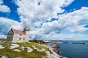Stone lighthouse in Rose blanche remote village in southern Newfoundland, Canada