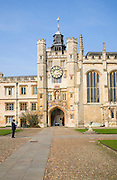 Trinity College chapel entrance, University of Cambridge, Cambridgeshire, England