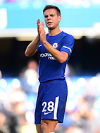 Cesar Azpilicueta of Chelsea applauds the fans after the game. Premier league match, Chelsea v Arsenal at Stamford Bridge in London on Sunday 17th September 2017.<br /> pic by Andrew Orchard sports photography.