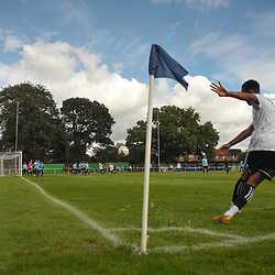 TELFORD COPYRIGHT MIKE SHERIDAN Brendon Daniels crosses during the pre-season friendly between Ellesmere Rangers and AFC Telford United at Beech Grove, Ellesmere on Saturday, September 5, 2020.<br /> <br /> Picture credit: Mike Sheridan/Ultrapress<br /> <br /> MS202021-022